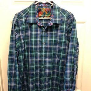 Robert Graham Blue Plaid Long Sleeve Shirt